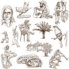CUBA_1. Full sized hand drawn illustrations on white