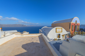 Fototapete - Greece Santorini island in cyclades panoramic view at sea of vol