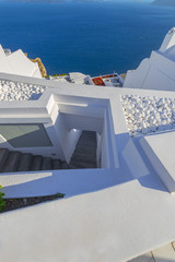 Fototapete - Greece Santorini island in cyclades stairs in Fira