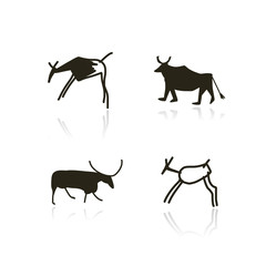 Rock paintings, ethnic animals sketch for your design
