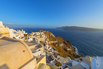 Wall Mural - View to the sea and Volcano from Fira the capital of Santorini i