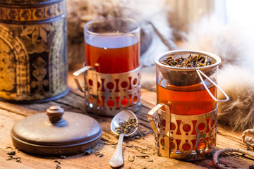 Wall Mural - Hot tea brewed in the old style