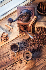 Fototapete - Smell of freshly brewed coffee with cinnamon