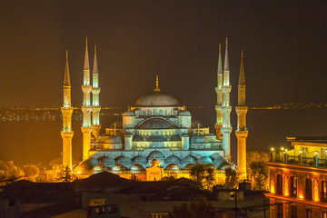 Blue mosque Istanbul by night
