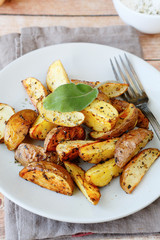 potato wedges with skin baked in the oven