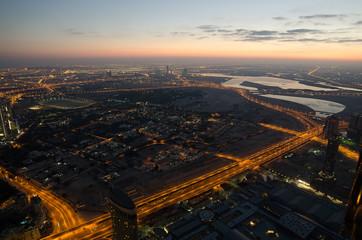 Downtown of Dubai (United Arab Emirates) in the sunrise.