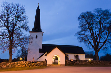 Vasteras Cathedral in winter evening