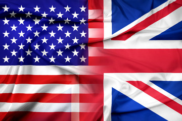 Waving USA and UK Flag