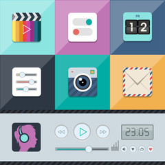 Set of flat vector web icons in stylish colors