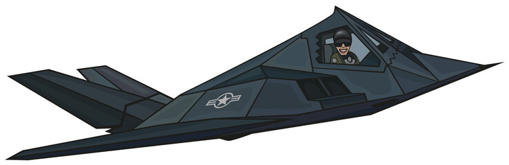 "Cartoon stealth F-117 ""Nighthawk""."