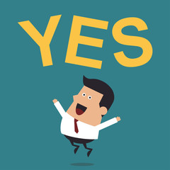 "Young Businessman Jumping With the Word ""Yes"", Business Concept"