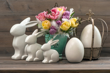 Easter deco with tulips, eggs and rabbits