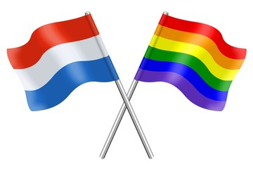 Flags : Luxembourg and rainbow