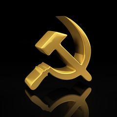 Gold hammer and sickle on black