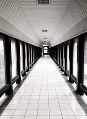 tunnel walk way. black and white