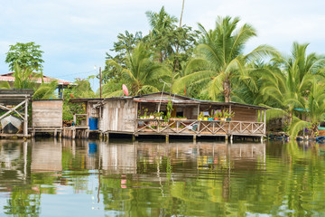 Houses on the water in Almirante, Panama
