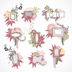 Floral decorative doodle frames set