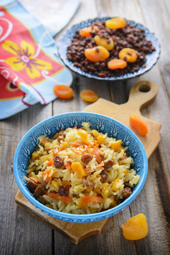 Oriental cuisine - pilaf with dried fruits