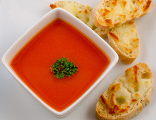 tomato soup and cheese sandwich