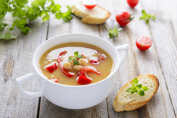 Soup from chickpeas and roasted vegetables