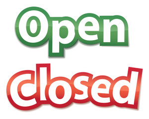 Open And Closed Signs. Vector illustration