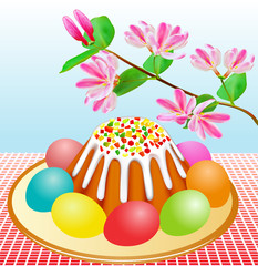 Passover with Easter cakes and eggs and cherry branch