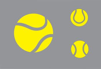 yellow colorful Tennis balls symbol icon set concept design