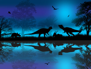 Dinosaurs silhouettes at blue night