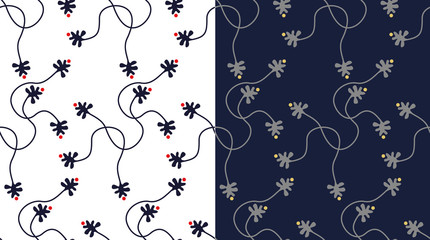 two floral retro black isolated seamless background