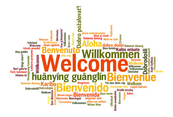 Welcome phrase words cloud concept
