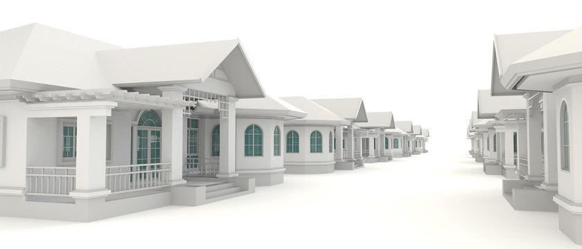 3D residential estate village design in white background