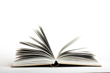 open book on white background