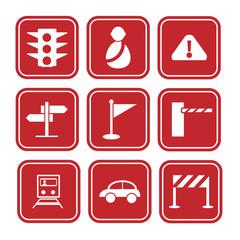 traffic signals set, transportation icon set