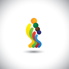 abstract colorful family of four people icons