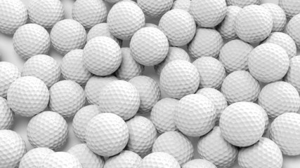 Stores à enrouleur Golf Many golf balls together closeup isolated on white