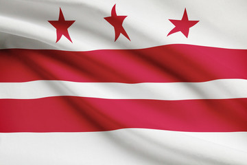 Series of ruffled flags of US states. District of Columbia.