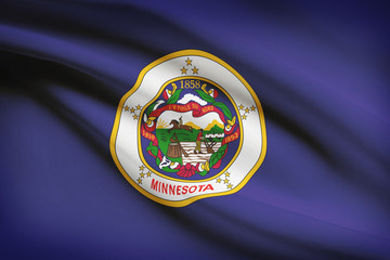 Series of US states ruffled flags. State of Minnesota flag.