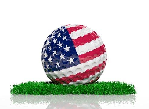 Golf ball with flag of USA on green grass