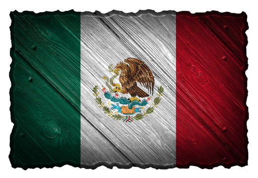 Mexico flag painted on wooden tag