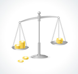 Vector silver justice scales and money