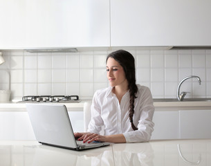 typing in the kitchen