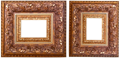 Two carved golden frame in retro style
