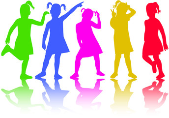 group of children silhouettes