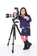 enfant photographe pouce levé