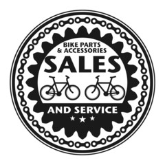 Label or stamp with text Bike Sales and Service