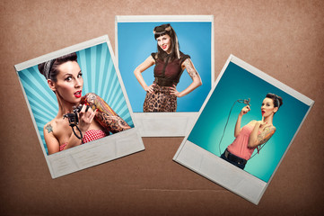 3  photos of a pin up girls, against cardboard background