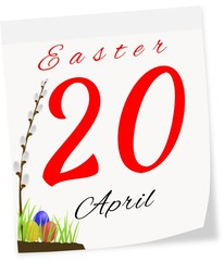 Calendar page with date of Easter-20.04.2014