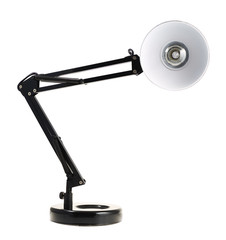 Black reading table lamp isolated