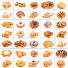 collage of different cakes and sweets on white background