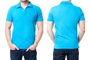 Blue polo shirt on a young man template